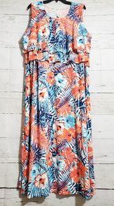 D & CO Maxi Dress Orange Blue Floral Plus Sz 2X